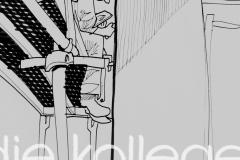 Der Leipziger Zeichner Matthias Seiffert malt am 08.03.2011 in der Phaeton - Produktion der Glaesernen Manufaktur von Volkswagen in Dresden. Foto: Oliver Killig